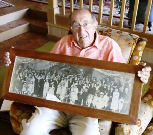 1 Basil Gregores with parents' wedding photo, 2012