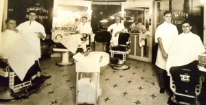 14 Prefontaine Barber Shop standing right, 1931