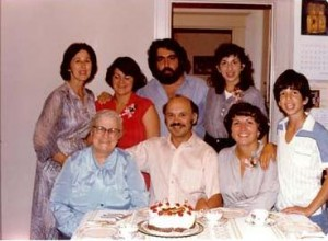 16 Family Party l-r Standing  who, who, Costa, Marianthi, Sitting Irene, Mel, Theodora, Dimitrios, circa 1970