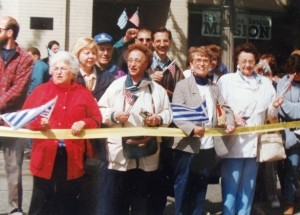 21 Olympic torch rally (l-r) Mary Manthou, Pres. Maria Johnson, Andy Manos (in cap), Evelyn Manos, Elly, Joanna Tsapralis, 1996