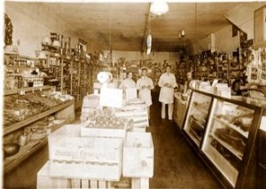 5 Andy's first grocery store (l-r)-Georgia, Andy and helper, circa 1934