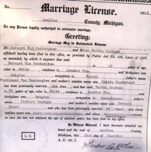 2 Pearl's Maternal grandparents wedding certificate, 1915