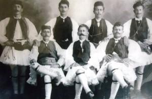 2 Demitri Demopoulos (left front) with nephews (behind him) and other Evzones, late 1800s
