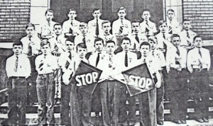9 McDonald Elementary Patrol Boys (Gus just above left Stop sign), circa 1942