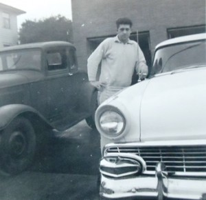 9 Basil with cars, 1958