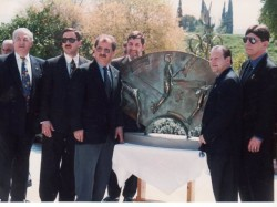 13 AHEPA board of directors present replica of Tribute to Olympism, 1996