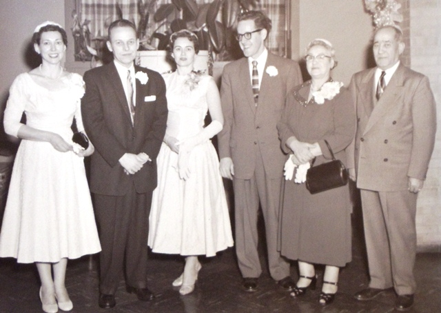 10 Paul and Willene wedding (l-r) Helan Randall, Malcolm Randall, Willene, Paul, Theodora and Chris, 1955