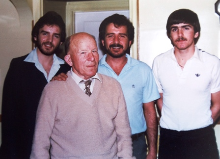 14 Tryfon men, (l-r) Jon, John, George, Todd, early 1980s