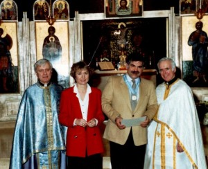 20 Fr. Homer, Diana, George, Fr. Michael, 1985 receiving Scouting honor