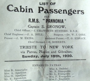 3 Passenger list, parents 1920