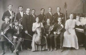4 Chris Delegans playing clarinet (middle back), Tacoma, circa 1910