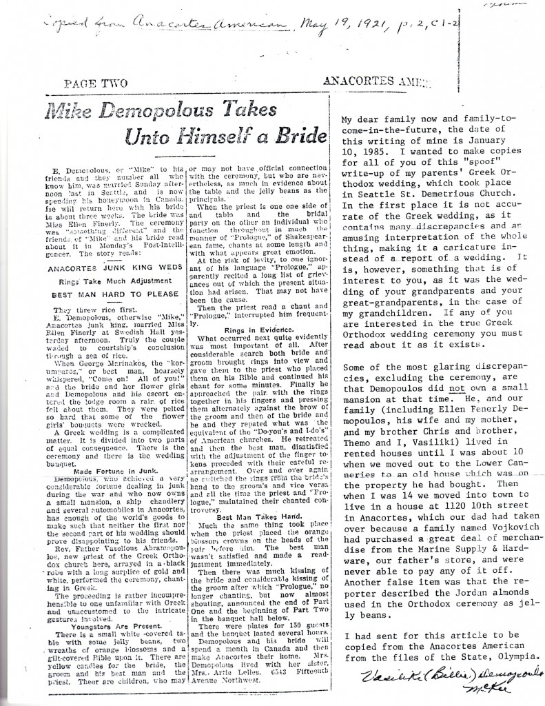 5 Whole wedding article, May 19, 1921