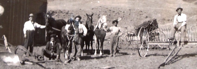 6 Chris and Gus Delegans with hired hands in Penewawa, circa 1915