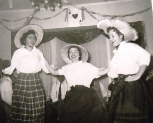 7 New Years Eve at the Adelines (l-r) Cleo Adeline, Fran Demson and Elaine Demson, circa 1955