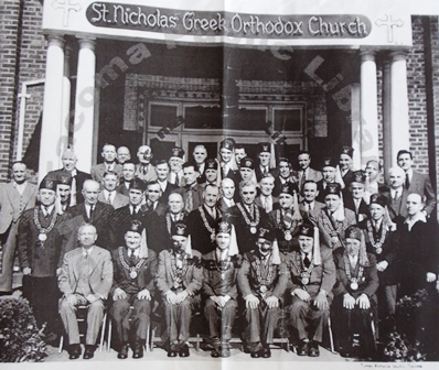 8 AHEPA members in front of St. Nicholas Church, 1940s