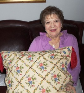 9 Fran with Greek pillow
