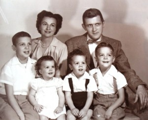 9 McKee family (l-r) Thomas, Elaine, Brian, Gregory with Billie and Don, 1954