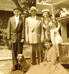 13 John family (l-r) John, Antonios, Evangelia, Voula and dog 1956 - Copy