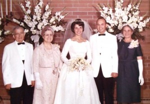 13 Mel and Theodora wedding, (l-r) Mike, Irene, Theodora, Mel, Marianthi Geokezas, 1963
