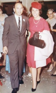 14 Mel and Theodora leaving wedding, 1963