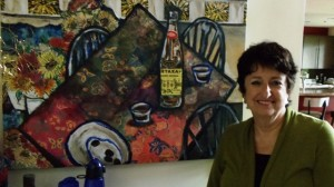 16 Sandy with her Metaxa painting, 2012