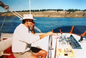 17 Bill at the helm of  La Reina, 1965