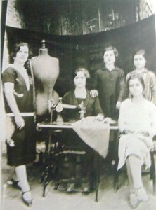 21 Katina Ballasiotes (left), others unknown in seamstress shop,  circa 1930s