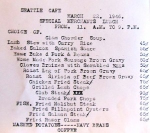 23 Seattle Cafe menu, 1946