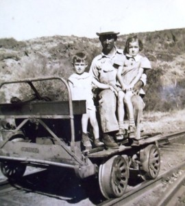 3 Pete, Artemis and Dina on railroad putt putt, late 1930s