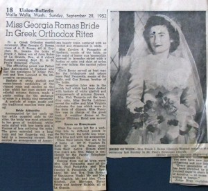 7 Walla Walla Union Bulletin wedding story  September 28, 1952