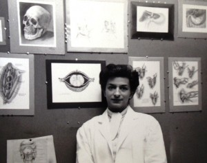 9 Joy in front of  drawings, circa 190s