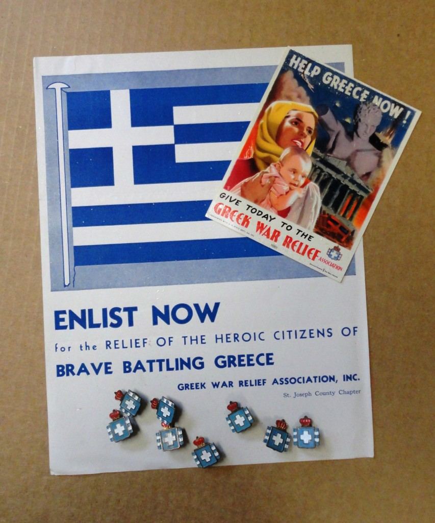 Poster, hand bill and recognition pins from Greek War Relief from Dean Lentgis
