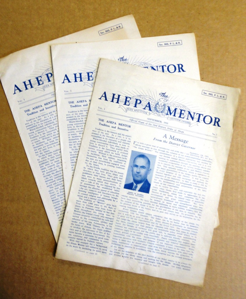 AHEPA MENTOR Vol I, No. 1 September, 1933