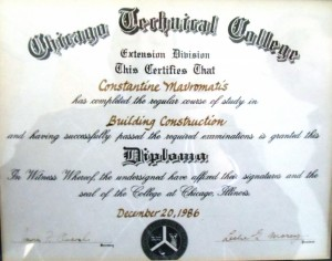25 Costa's construction certificate, 1986