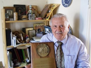 1 Mike with his AHEPA recognition plaque, 2014