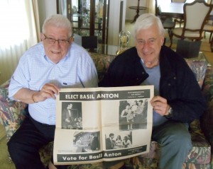 1 Basil and Jim Anton with Basil's political ad, 2013
