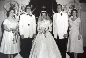 11wedding (l-r) Katie, Bob Larimer, Billie, Mike Prineas, Tasis Prenias, 1958