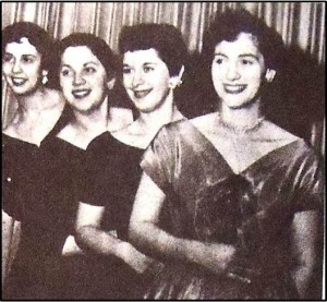 15  Maids of Athena Queen of Hearts Ball (l-r) Vicki Melonas, Katie Babunes, Gloria Stamolis, Coleen Rockas, 1956