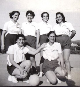 4 Anatolia College volley ball team, (Fotini, lower right), early 1950s