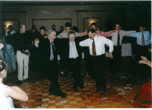 24 Greek Dancing with Koumbari John Gormanos, Stan Kanellos, and Michael, 2005.