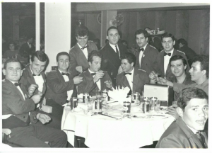 7 Greek easter egg breaking with crewmates, Michael incenter, mid 1960s