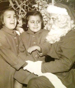 15 Mary and Deena visiting Santa, 1954