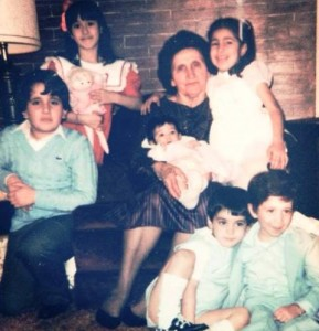 8 Yiayia Panagiota Hamilos with her grandchildren.  circa