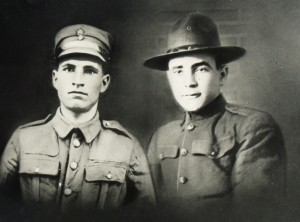 6 With half brother George in Greek Army and Gus in American army uniforms, (two separate photos put together) circa 1918