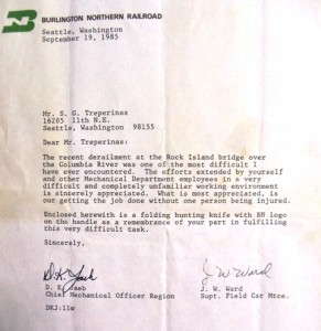 11 Recognition letter, 1985