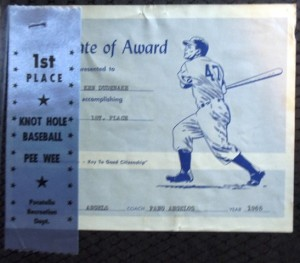 13 Kenny's baseball award, 1966