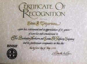 14 Sam's 50-year recognition certificte