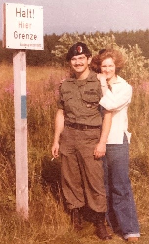 Gus and Ingrid on the border between East and West Germany